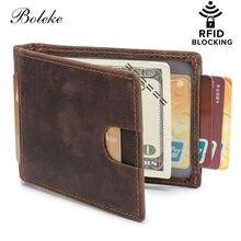3435ba5a0 Hombres RFID bloqueo Delgado cartera cuero genuino Mini cartera minimalista Delgado  bolsillo delantero monedero para hombres hec.