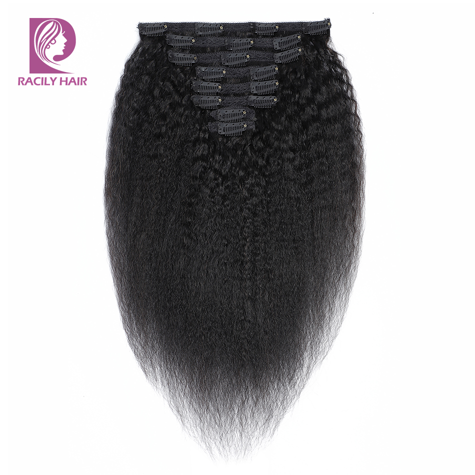 Racily Hair Afro Kinky Straight Hair Clip In Human Hair Extensions 8 Pcs/Set Full Head Clip Ins Brazilian Remy Hair 10-26 Inches
