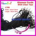 100 unids L708 negro ancho 3.0 mm gafas de sol poliéster secuencia del cuello del retenedor gafas de seguridad holder con claro consejos