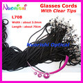 100pcs L708 Black width 3.0mm eyeglass sunglasses polyester neck string cord retainer glasses lanyard holder with Clear Tips
