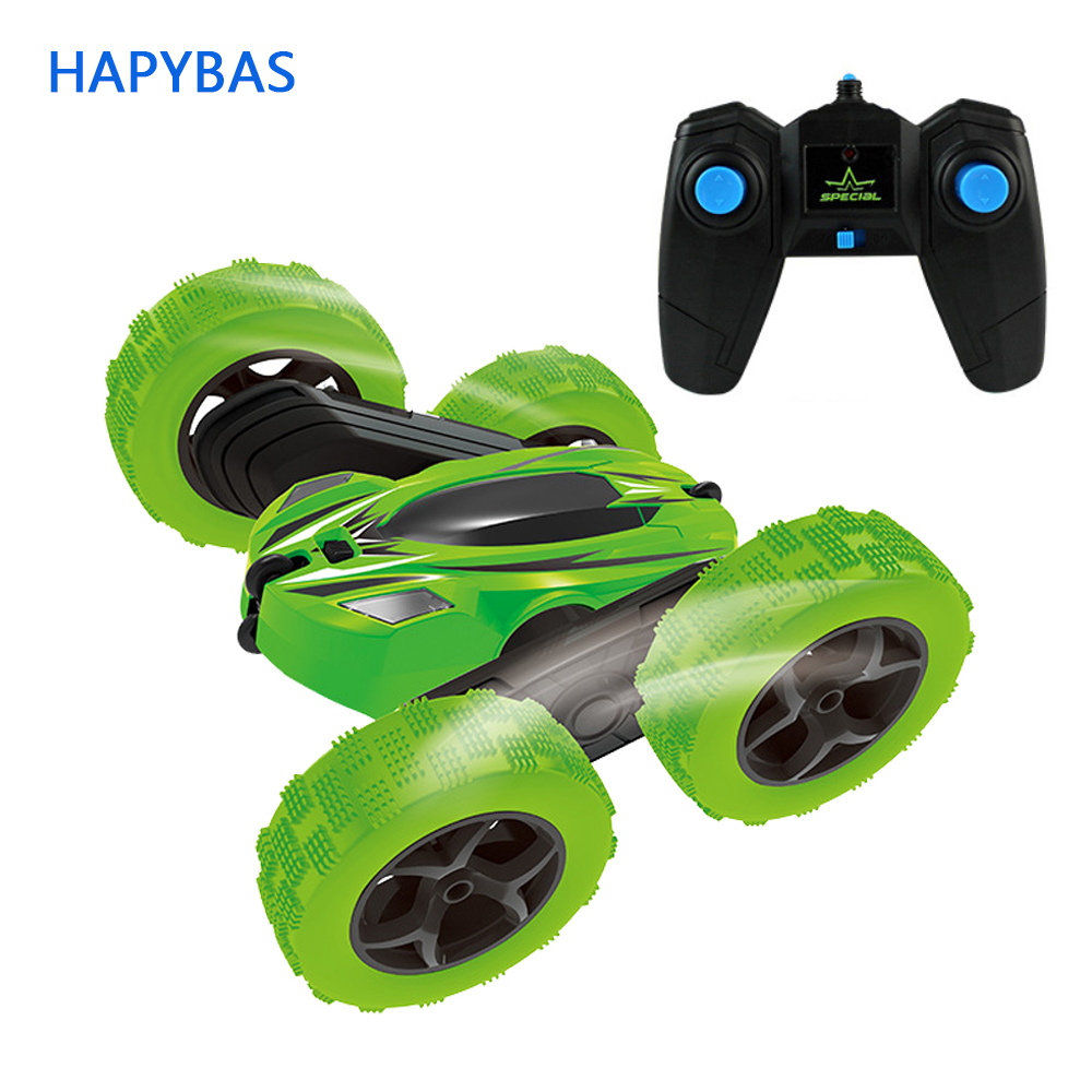 2.4Ghz Remote Control Cars Stunt Rc Car High Speed Flashing 3D Flip roll Green & Blue Electric Race Double S Toys Christmas gift ferngesteuertes auto koowheel
