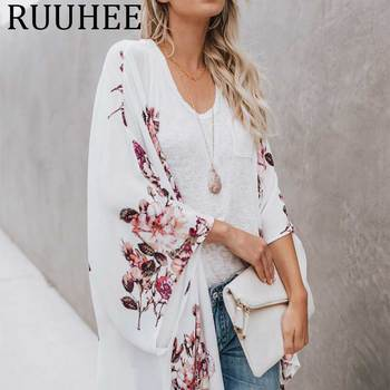 Blusa de chifón mujer verano 2019 ropa de mujer de gran tamaño sexy túnica camisas mujer blusas de moda kimono cardigan beach cape