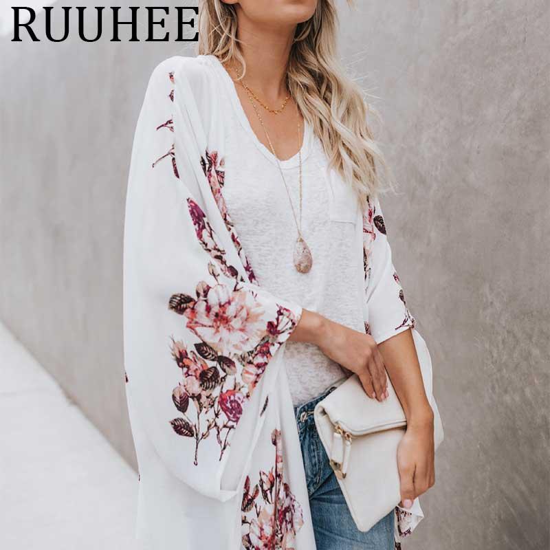 Blusa de chiffon mulheres verão 2019 tamanho grande das mulheres roupa sexy túnica camisas mujer blusas de moda kimono cardigan praia cape