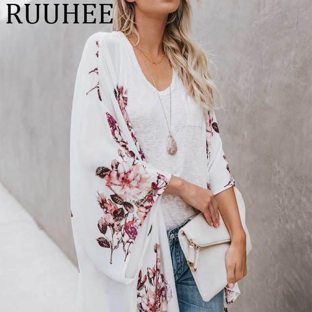 5a53b9d318 Blusa de chiffon mulheres verão 2019 tamanho grande das roupa sexy túnica  camisas mujer blusas moda kimono cardigan praia cape