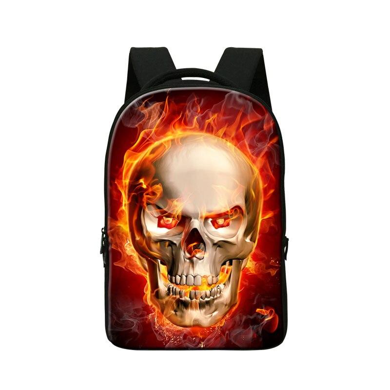 Dispalang cool ordinateur portable sac à dos pour ordinateur portable crâne de feu sacs d'école pour haute classe élégant squelette sac à dos mochila