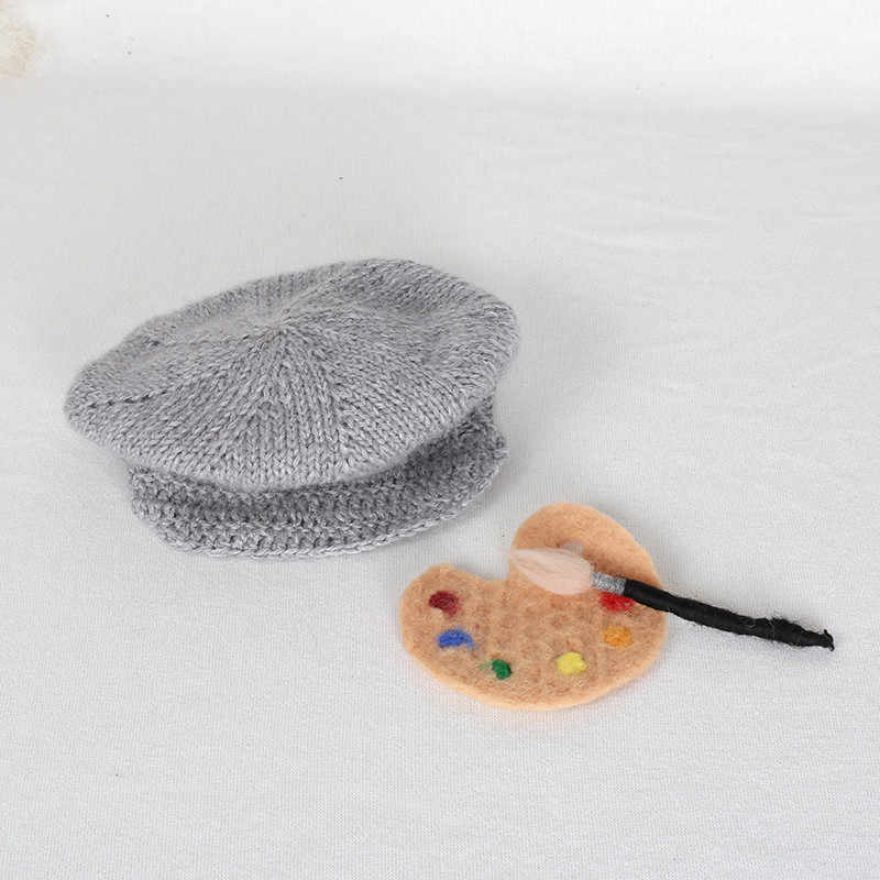 Винтажная детская шапка реквизит для фотосъемки вязаная новорожденного