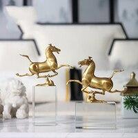 Роскошная медная лошадь Бегущая На квадратной Хрустальная колонна скульптура Статуэтка искусство подарок фигурки украшения для дома аксе