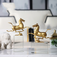 Luxurious Copper Horse Running On A Square Crystal Column Sculpture Statuette Art Gift Figurines Home Decoration Accessories
