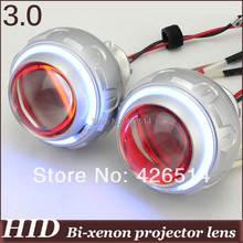 "3"" inch  35w 3000k-12000k 3000lm H1 H7 9005/6 Bi-xenon  Projector Lens kit CCFL Angel Eye+ Devil Eye"