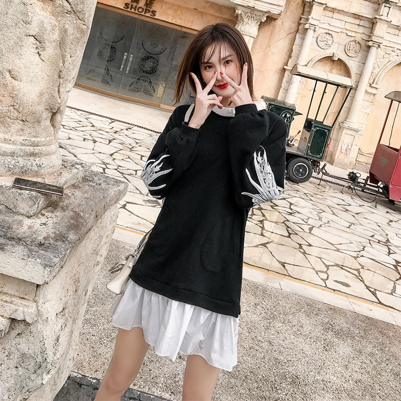Net rouge vent 2019 printemps nouveau femmes noir faux deux pièces robe femme coréenne version de la robe à volants BE0056