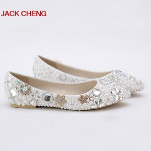 2018 New Luxury Fashion White Pearl Wedding ShoesFlat Heel Imitation Pearl Bridal Flats Customized Bride Shoes