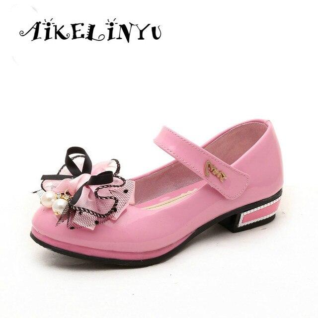Filles des chaussures en cuir fleur rouge et chaussures enfants filles filles 4JL18Lx