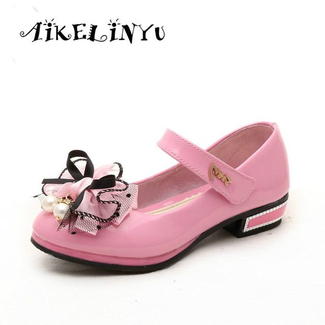 2017 spring children shoes high heel girls pink black red bow 2017 spring children shoes high heel girls pink black red bow princess shoes girls baby flower mightylinksfo