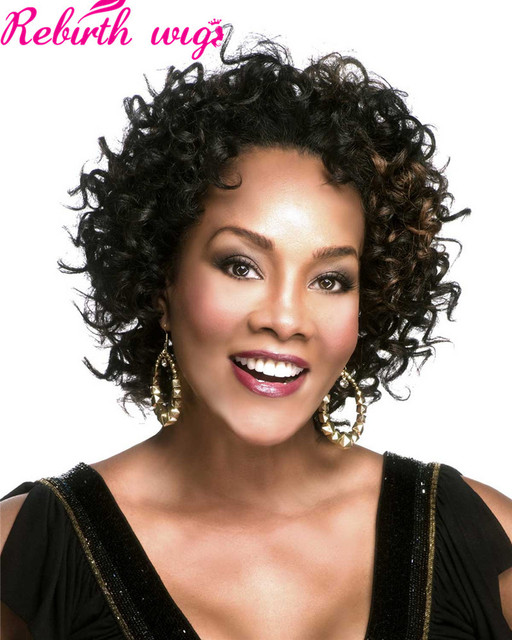Afro Short Synthetic Kinky Curly Hair Wigs For Black Women Black