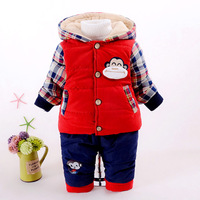 New 2016 Baby Boy Plaid Cartoon Cotton Padded Thicken Warm Clothing Sets Toddler Kids Clothes Sets