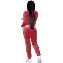 Red Women Stripe Velvet Sweatsuit Velour Tracksuit