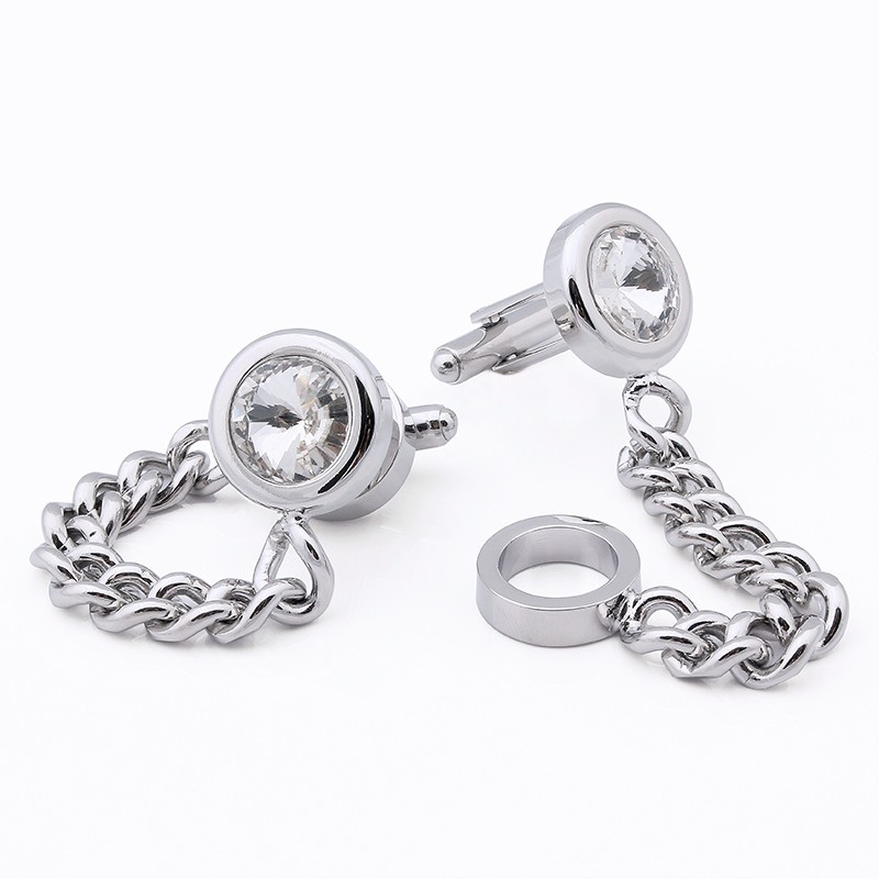 HAWSON Silver Color Chain Cuff links with Satellite Stone Luxury French Cuff Button Mens Party Accessory Free Shipping