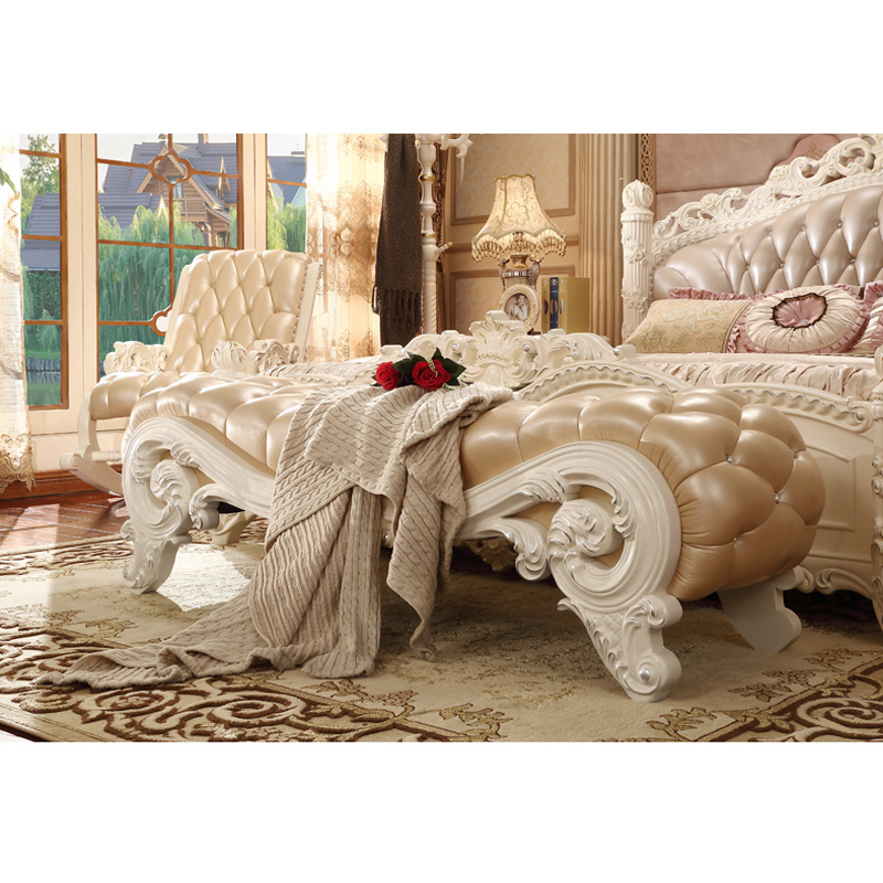 . US  790 0  modern antique European style bedroom furniture Solid Wood  Carving Leather Bench Bed End Stool in Bedroom Sets from Furniture on