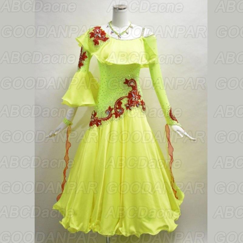 New Ballroom Dance Dress Yellow Ruffle Sleeve Waltz / Tango / Standard /Foxtrot Dance Dresses Women Professional Dance Costume