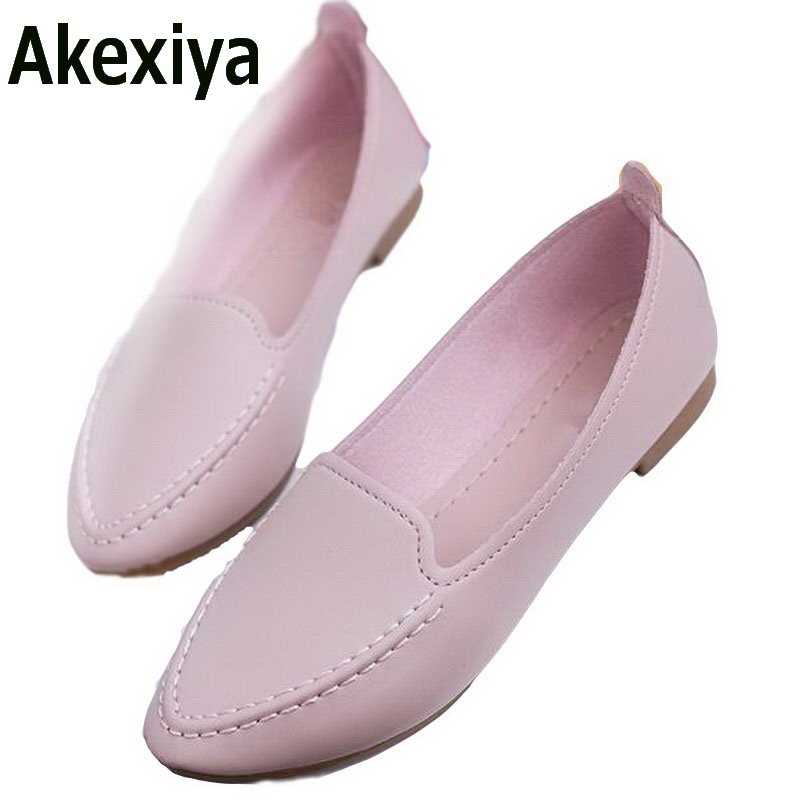 Akexiya Women Flats 2017 Summer Style Casual Solid Pointed Toe Slip-On Flat Shoes Soft Comfortable Women Shoes Plus Size 35-40 spring summer women flat ol party shoes pointed toe slip on flats ladies loafer shoes comfortable single casual flats size 34 41