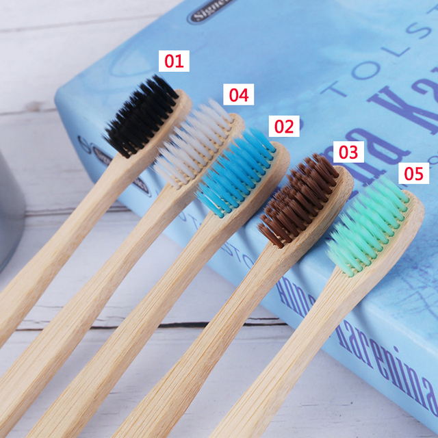 10pcs/set Adults Wood Bamboo Toothbrush Natural Soft Bristles Fibre Eco Bamboo Fibre Wooden Handle