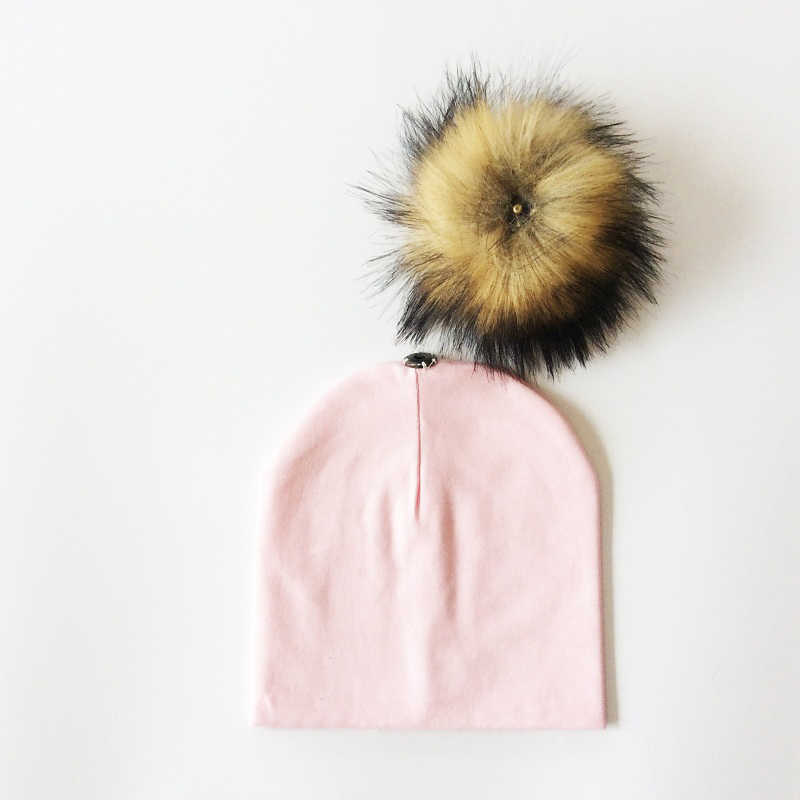 เด็กหมวกขนFauxเด็กหมวกผ้าฝ้ายP Ompom B Obbleหมวกสำหรับเด็กในช่วงฤดูหนาวเด็กชายและเด็กหญิงหมวกเทียมเด็กที่ทำจากขนสัตว์หมวก
