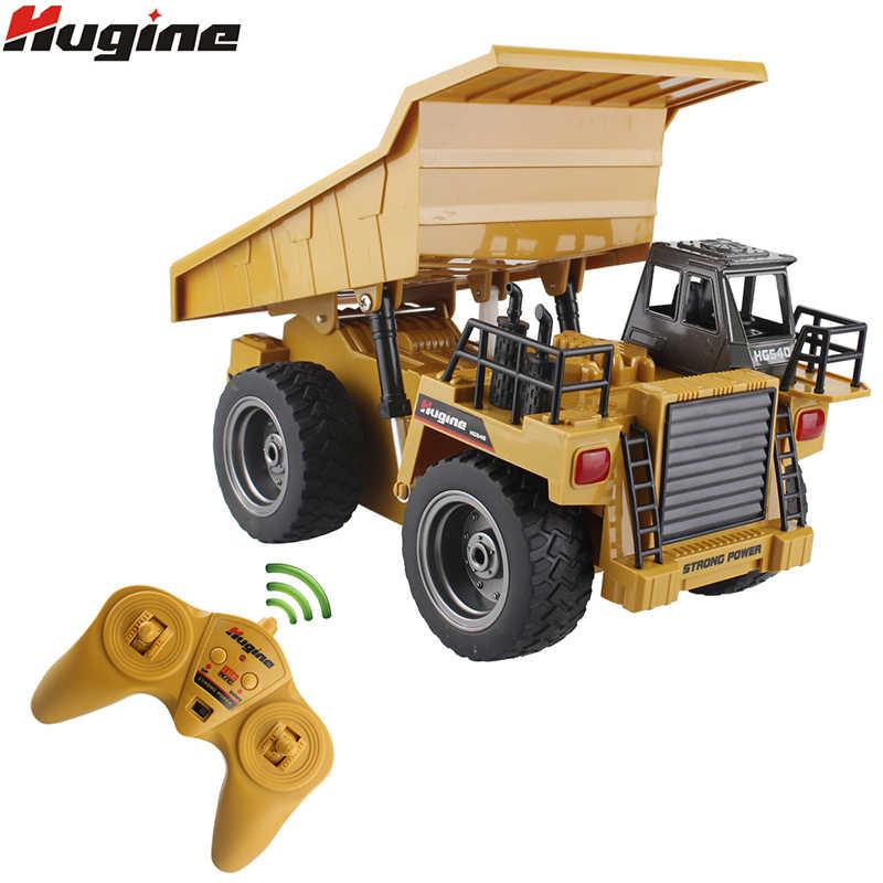 RC Truk Paduan Dumper Memiringkan Keranjang 2.4G 4WD Tip Truk Remote Control Tambang Truk Mesin Elektronik Model Kendaraan Hobi mainan