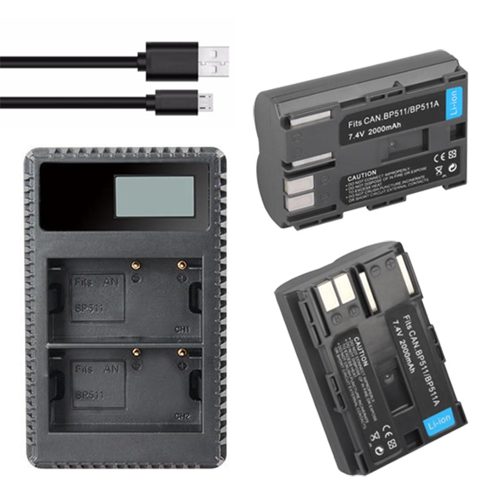 2x 7.4v 2000mah <font><b>BP</b></font>&#8211;<font><b>511A</b></font> <font><b>BP</b></font>-511 <font><b>BP</b></font> 511 <font><b>511A</b></font> BP511 BP511A <font><b>Battery</b></font> + LCD USB Charger for Canon EOS 40D 300D 5D 20D 30D 50D camera