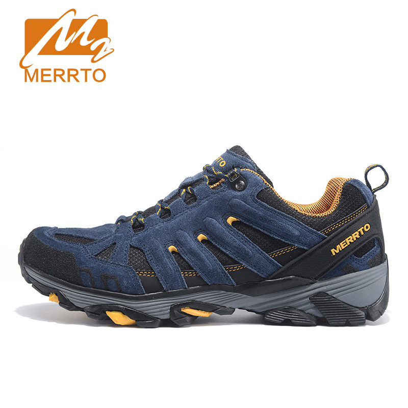 MERRTO Outdoor Breathable Hiking Shoes For Men Cowhide Trekking Shoes Sports Sneakers For Women Lightweight Man Walking Zapatos outdoor hiking shoes men women camping sneakers breathable outdoor sports sneakers walking trekking sneakers for couples lovers