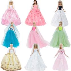 Свадебное платье ручной работы принцесса Вечеринка бальное длинное платье юбка свадебные одёжная вуаль для куклы Барби аксессуары
