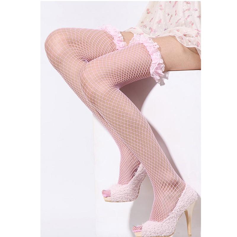 Suspenders With Lace Perspective Sexy Lingerie Lace Gaotong Long-barreled Mesh Fishnet Stockings Legs Socks Thigh Stockings