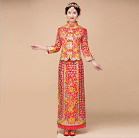 Women's Red Chinese Wedding Dress Cheongsam Gold Slim Chinese Traditional Dress Women Qipao for Wedding Party high quality