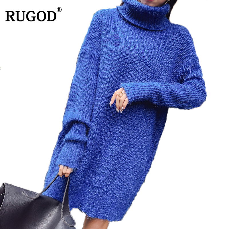 RUGOD 2019 NewArrival Spring Summer Women Sweater Dress Long Sleeve Knitted Pullover Sexy LBlue Vintage Sweater Dress Pull Femme