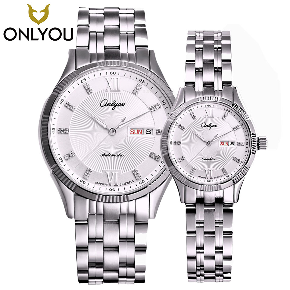 ONLYOU Women Watches 2017 Brand Luxury Fashion Calendar Mechanical Couple Men Quartz Watch Black/Gold Dress Girl Clock Gift onlyou men s watch women unique fashion leisure quartz watches band brown watch male clock ladies dress wristwatch black men