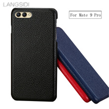 wangcangli For Huawei Mate9 Pro case Cow Leather back cover litchi texture phone