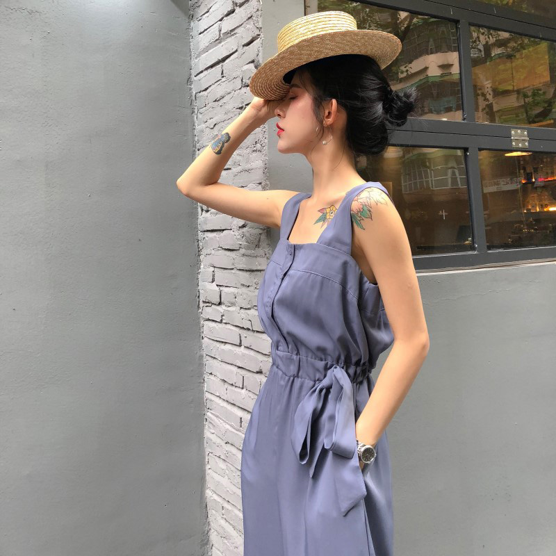 HziriP Sexy Jumpsuit Women Romper 2018 Summer Loose Solid Elegant Party Square Neck Sexy Playsuits Sleeveless Long Pant Overalls 5