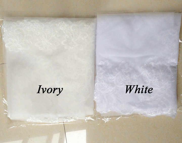2019 ולוס דה Noiva קצר שכבה אחת תחרה קצה לבן שנהב חתונת רעלה טול כלה רעלה זול חתונה אביזרי וואל mariage