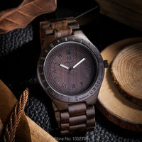 2015 New Natural Black Sandal Wood Analog Watch BEWELL Japan MIYOTA Quartz Movement Wooden Watches Dress