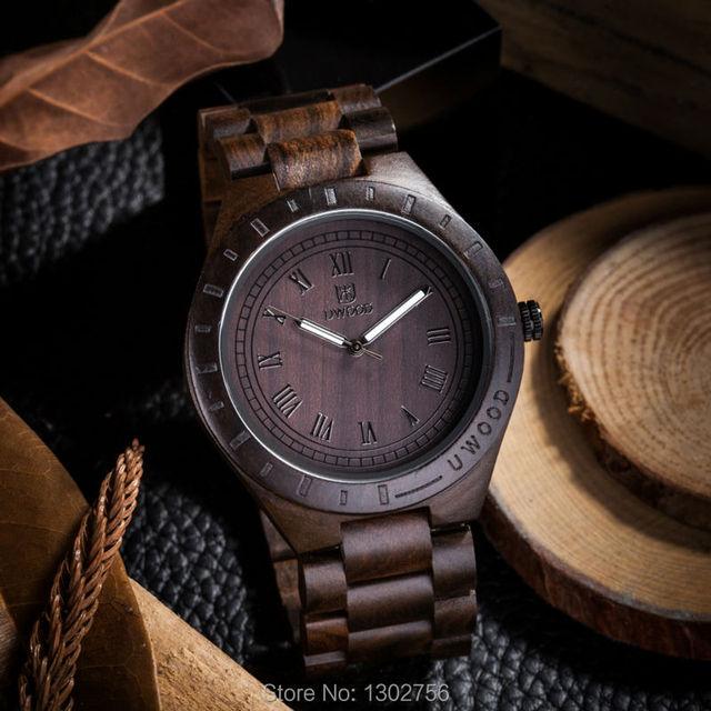 2016 Nueva Negro Natural Sandal Wood Reloj Analógico UWOOD Japón MIYOTA Movimiento de Cuarzo Relojes Vestido Reloj de pulsera De Madera Para Unisex