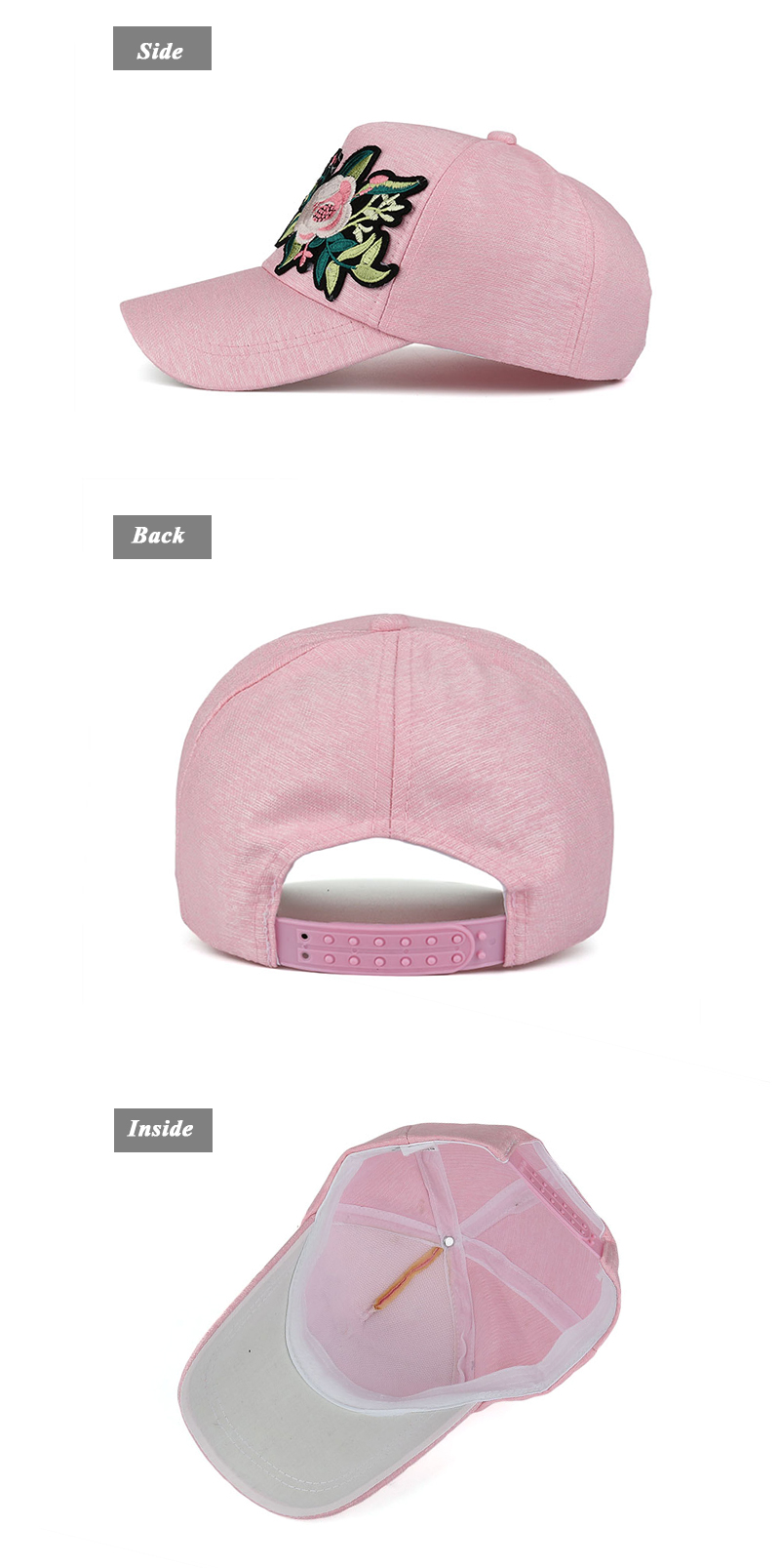 Embroidered Flower Snapback Cap - Side, Rear and Inside Views