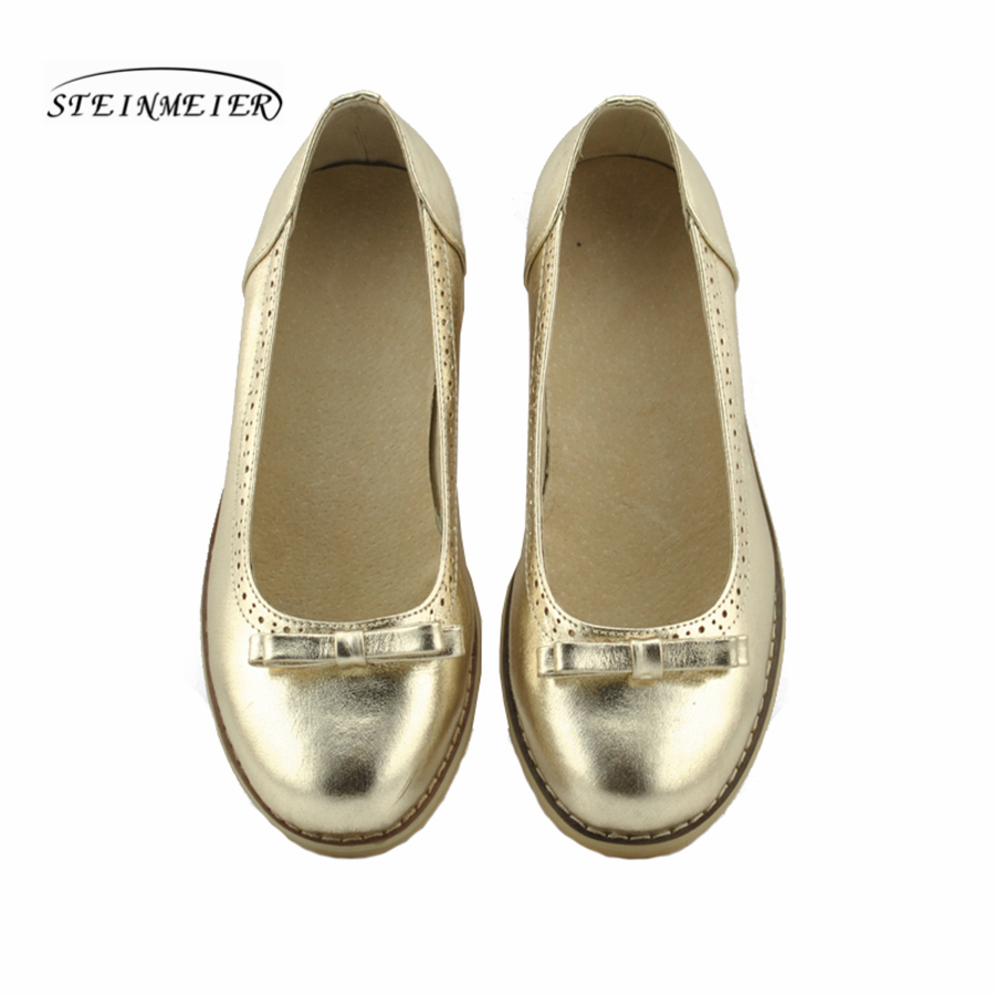 women flat summer casual oxford gold shoes 100 genuine cowskin leather bow flat round toe handmade