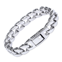 11mm Wide Rock Punk Stainless Steel Bracelet Women Silver Thin Bike Link Chain Bracelets Bangles Vintage Jewelry Flower Pattern