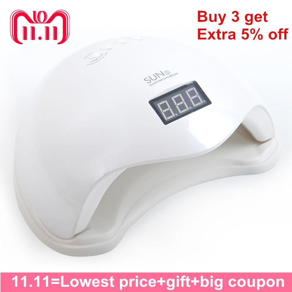 SUN5 48W LED/UV Lamp Nail Low Heat Mode Nail Dryer Gel Polish Curing Hard Gel Extension With bottom LCD Display Led Nail Lamp 48w uv led nail dryer with low heat mode silicon cap professional nail dryer uv lamp for curing nail art tools