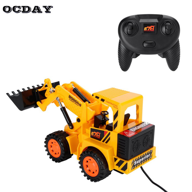 Boy Rc Car 5ch Led Forklift Truck Toyscharging Rtr Remote Control Construction Vehicle Engineering Kids