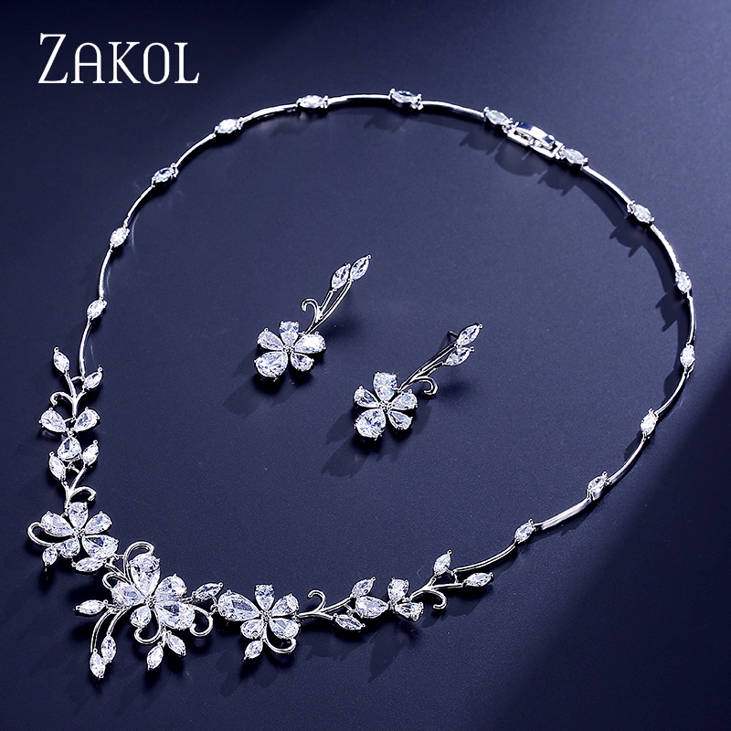 ZAKOL Exquisite Flower Plant Shape Zircon Jewelry Set Elegant Women Earrings Necklace For Best Gift FSSP305 chic ellipse shape faux gem flower earrings for women