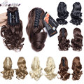 S-noilite Short Wavy Curly Ponytail Claw Jaw in Hairpiece 100% Real Natural Clip in Hair Extensions Black Brown Blonde Pony Tail