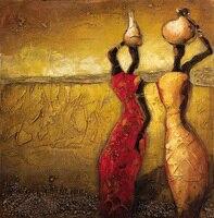 Hand bemalt Messer Ölgemälde Abstrakte Afrika Frau Ölgemälde auf Leinwand Handel Wand Kunstwerk Leinwand Malerei Handgefertigte Bild