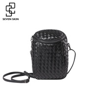 SEVEN SKIN Brand Women Small Messenger Bags Ladies Luxury Pu Leather Knitting Shoulder Crossbody Bag Women