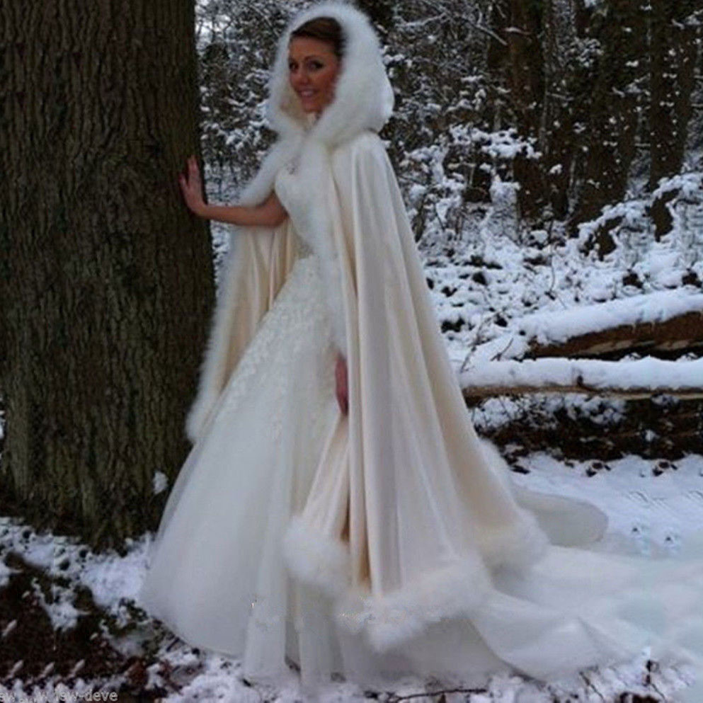 Fashion Gorgeous Cape Winter Bridal Shrug Wedding Jacket Long White Cloak Wraps Hooded Party Wraps Jacket