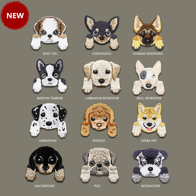 1 Piece Cute Chihuahua Shiba Dog Patch Babys Clothing Patches Backpack Decoration Small